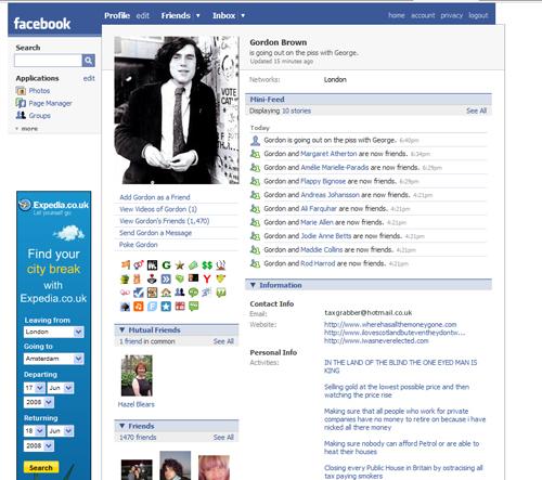 Fake Gordon Brown profile
