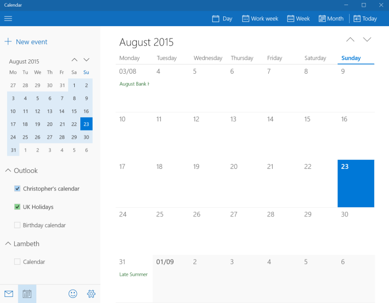 Windows 10 birthday calendar