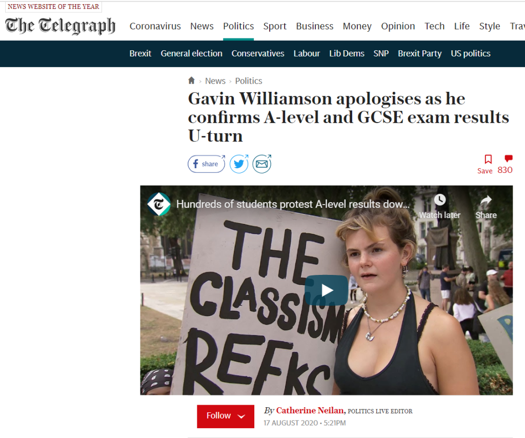 Daily Telegraph headline 'Gavin Williamson apologises as he confirms A-Level and GCSE exam results U-Turn'